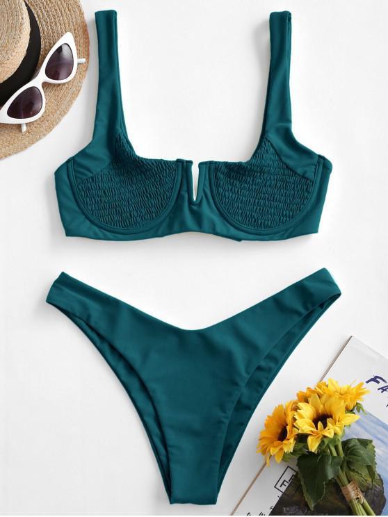 buy ZAFUL Underwire Smocked Bikini Set - PEACOCK BLUE L