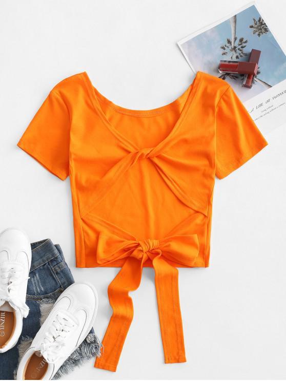 women's Plain Twist Back Backless Short Sleeve T Shirt - TIGER ORANGE ONE SIZE