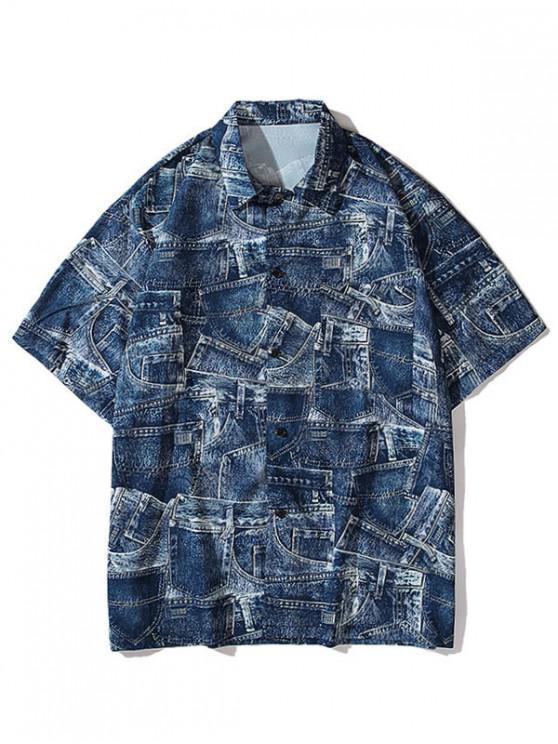 unique Denim Pirnt Pocket Button Shirt - COBALT BLUE M