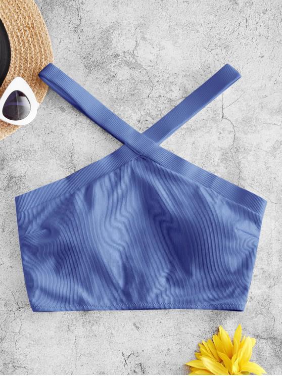 ZAFUL Ribbed V Neck Cutaway Swim Top - السماء الزرقاء M