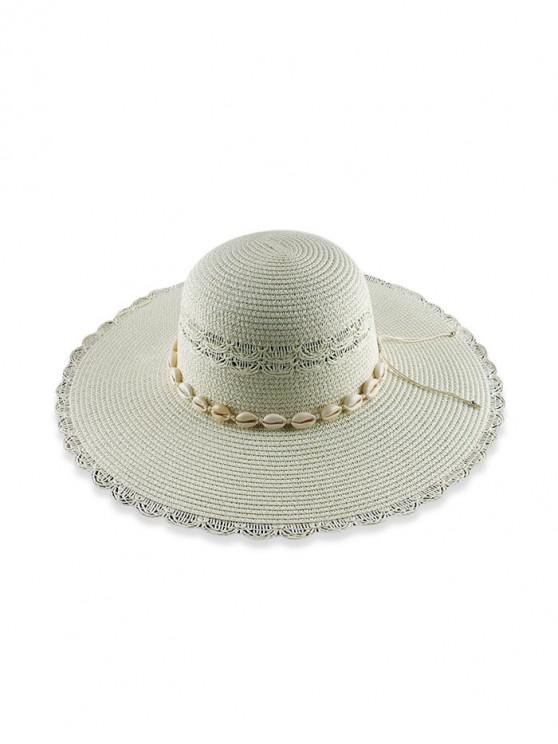 fashion Beach Shells Scalloped Straw Hat - WHITE