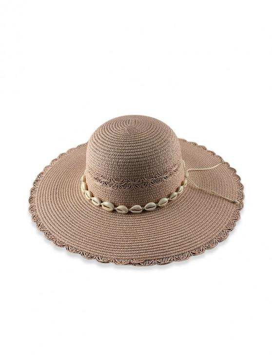 chic Beach Shells Scalloped Straw Hat - PINK