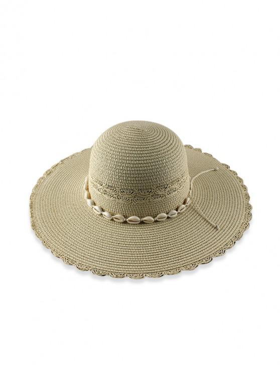 fancy Beach Shells Scalloped Straw Hat - BEIGE