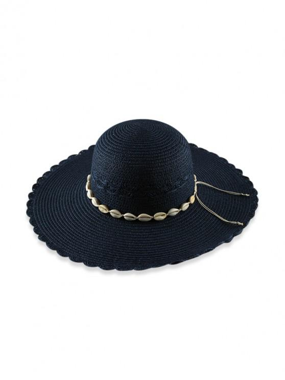 sale Beach Shells Scalloped Straw Hat - CADETBLUE