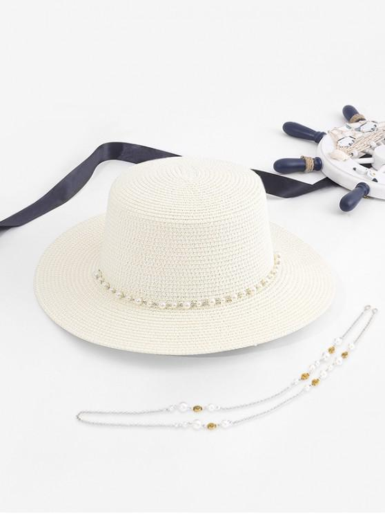 affordable Faux Pearl Chain Straw Hat - WHITE