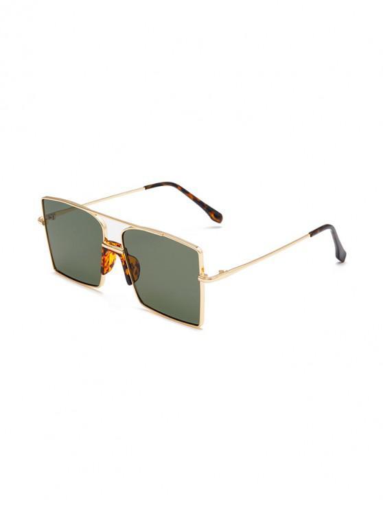 trendy Metal Bar Oversized Square Sunglasses - DARK GREEN
