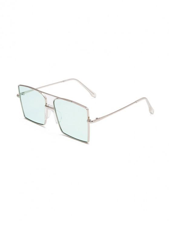 Metal Bar Oversized Square Sunglasses - محيط أزرق