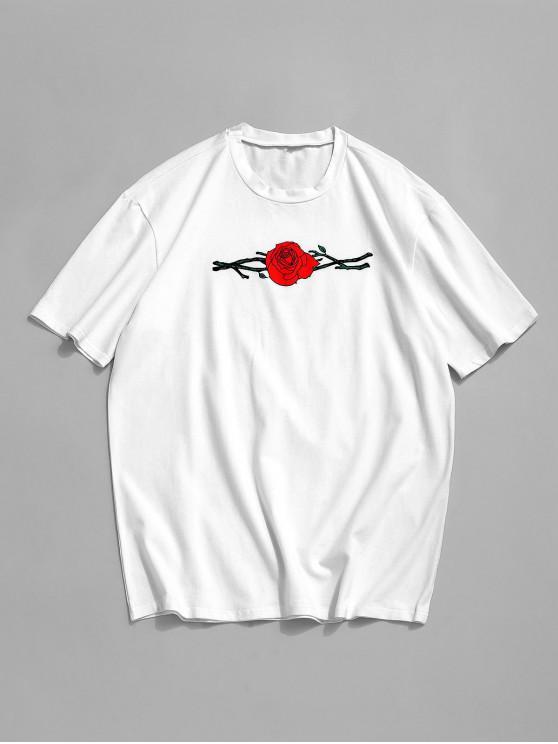 ZAFUL Floral Rose Print Short Sleeves T-shirt - أبيض XL