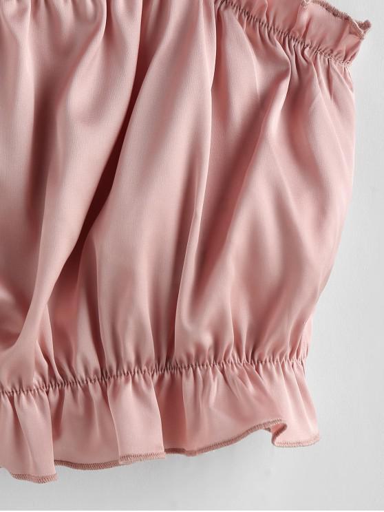 ZAFUL Contrast Straps Ruffle Crop Cami Top - Pink Xl
