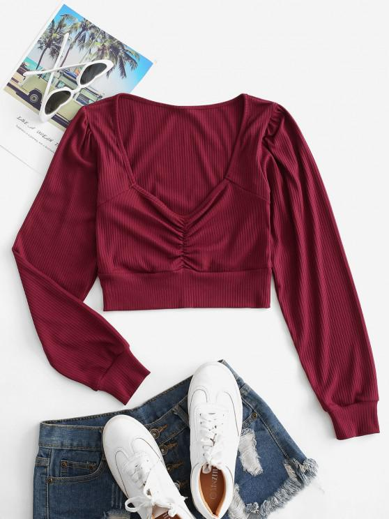 online Ribbed Ruched Crop Knitwear - RED WINE M