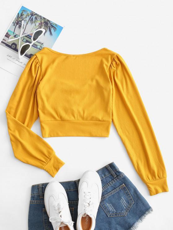 Ribbed Ruched Crop Knitwear - Mustard S | ZAFUL