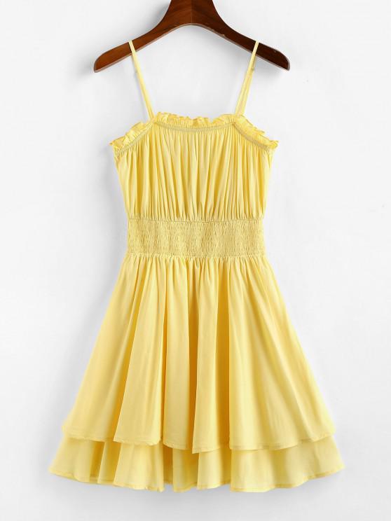 women ZAFUL Layered Smocked Waist Cami Dress - CORN YELLOW XL