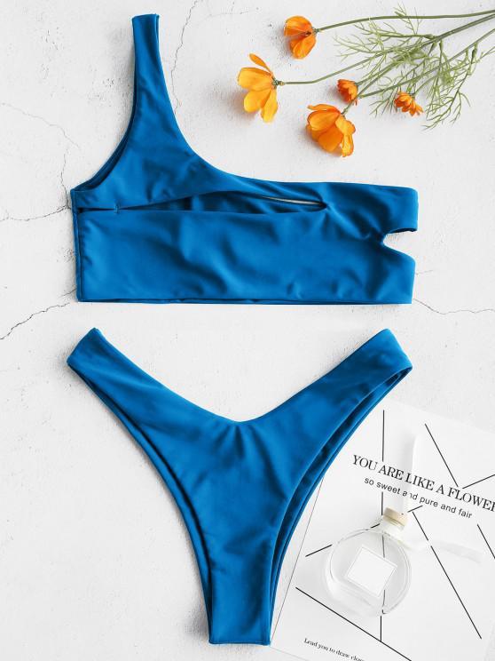outfit ZAFUL One Shoulder Cut Out Bralette Bikini Set - COBALT BLUE M