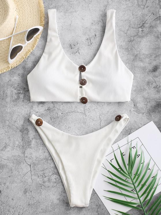fashion ZAFUL Button Loop Ribbed High Cut Bikini Swimwear - WHITE S