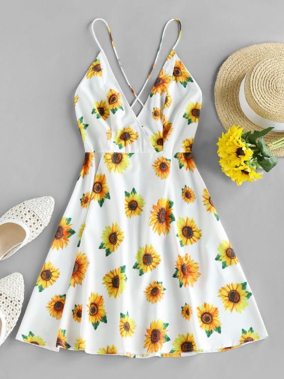 best ZAFUL Plunge Crisscross Sunflower Print Dress - WHITE M