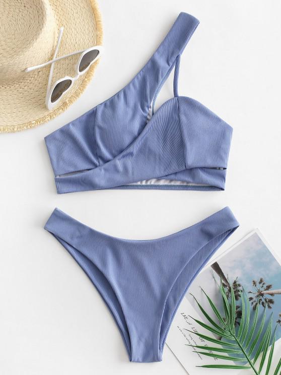 ZAFUL Criss Cross Cut Out One Shoulder Tankini Swimwear - سماء الأزرق S