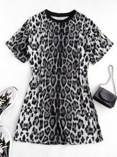 Leopard Print Long T-shirt - Black L
