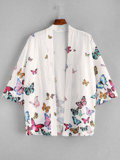 ZAFUL Blouse Kimono Papillon Ouverte En Avant - Blanc L