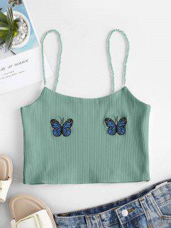 Faux Pearl Ribbed Butterfly Embroidered Cami Top - Green M