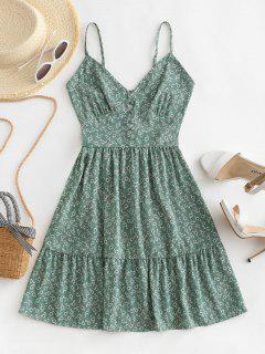 ZAFUL Ditsy Floral Smocked Back Cami Mini Dress - Green S
