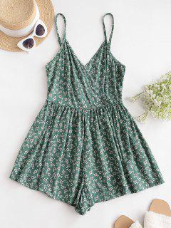ZAFUL Smocked Back Ditsy Floral Cami Romper - Sea Green L