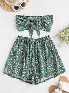 ZAFUL Smocked Tie Front Ditsy Floral Bandeau Top Set - Sea Turtle Green S
