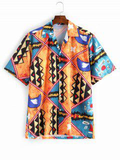 Cartoon Geometric Print Button Vacation Shirt - Multi-a S