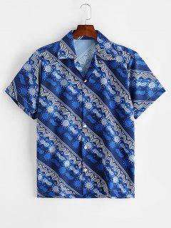 Geometric Graphic Print Casual Button Shirt - Lapis Blue L