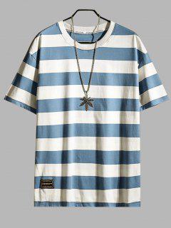 Color Spliced Striped Printed T-shirt - Light Sky Blue 3xl