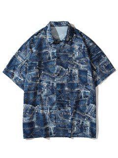 Denim Pirnt Pocket Button Shirt - Cobalt Blue 2xl