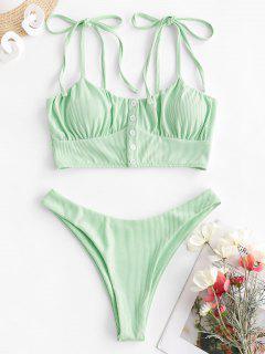 ZAFUL Ribbed Tie Shoulder High Cut Tankini Swimwear - Light Green S