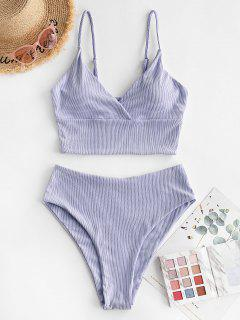 ZAFUL Ribbed High Cut Surplice Tankini Swimsuit - Lavender Blue S