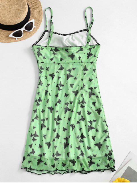 Ruched Front Butterfly Print Cami Dress - أخضر M Mobile