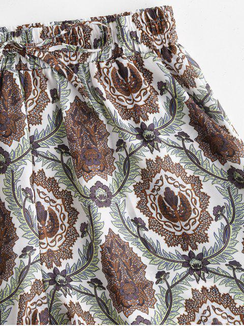 fancy Drawstring Plant Print Shorts - MULTI L Mobile