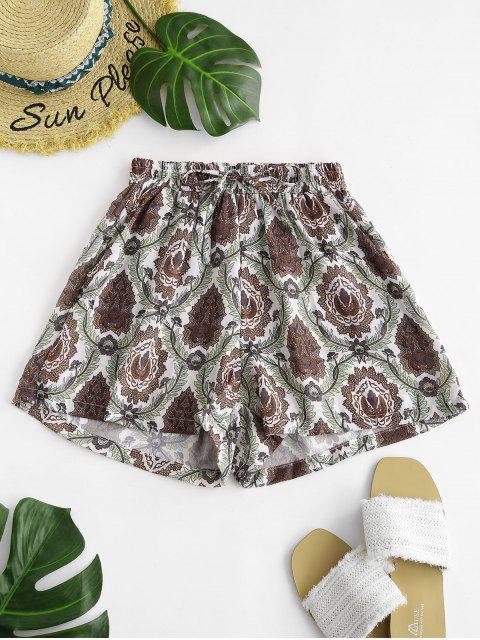 hot Drawstring Plant Print Shorts - MULTI S Mobile