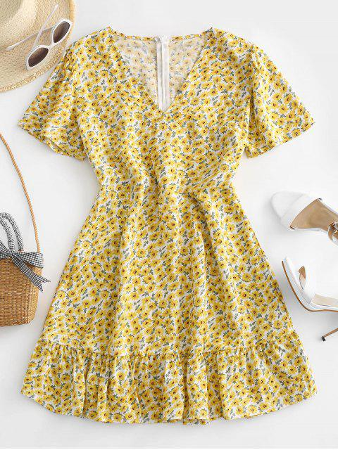 ladies Back Zipper Ditsy Floral Mini Dress - YELLOW L Mobile