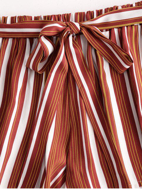 outfit Tie Colorful Striped Shorts - CHESTNUT RED M Mobile