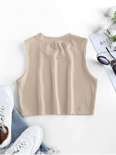 latest ZAFUL Ribbed Crew Neck Crop Tank Top - APRICOT S Mobile