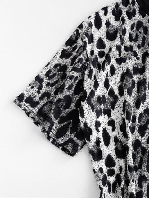 T-shirt Long Léopard Imprimé - Noir L Mobile