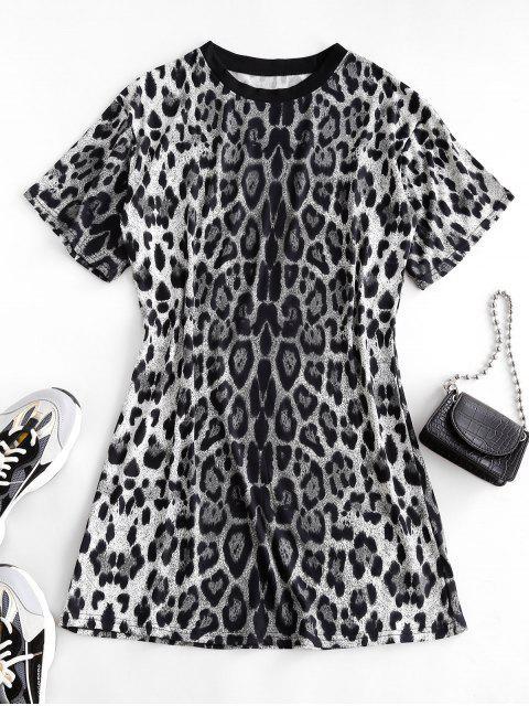 lady Leopard Print Long T-shirt - BLACK L Mobile