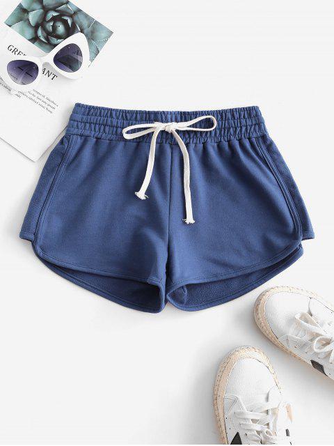 shop Lounge Drawstring Dolphin Sweat Shorts - SILK BLUE XL Mobile