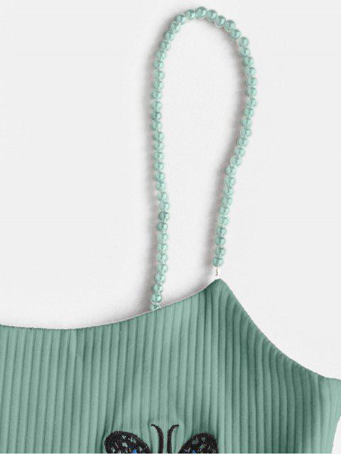 Haut à Bretelle Papillon Brodé Côtelé en Fausse Perle - Vert M Mobile