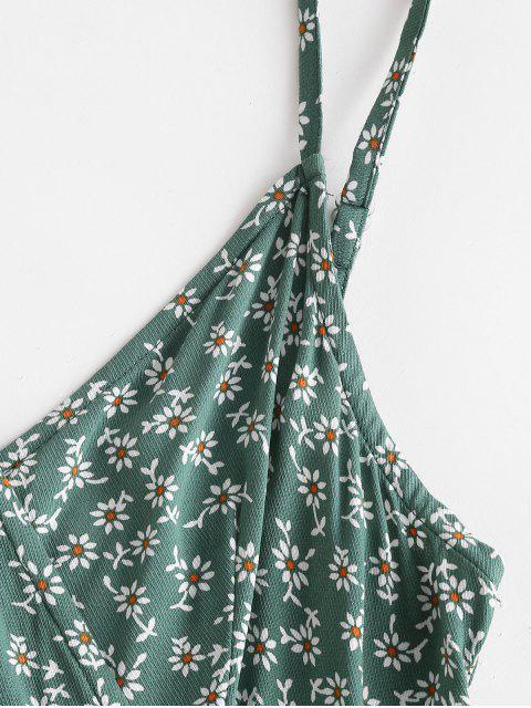 women ZAFUL Smocked Back Ditsy Floral Cami Romper - SEA GREEN L Mobile