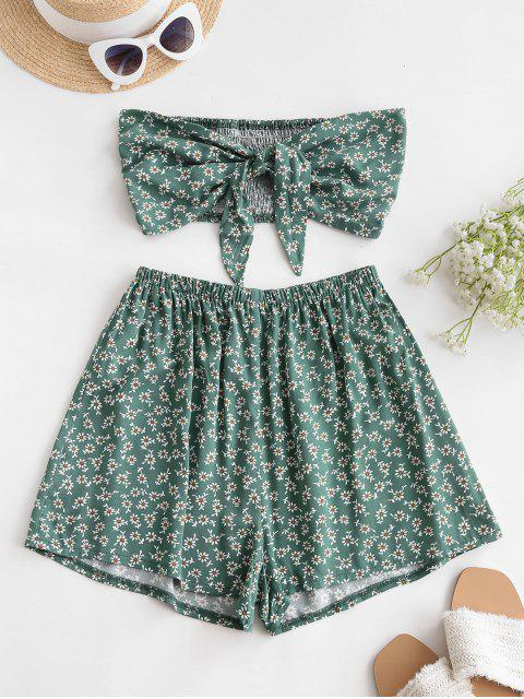 online ZAFUL Smocked Tie Front Ditsy Floral Bandeau Top Set - SEA TURTLE GREEN S Mobile