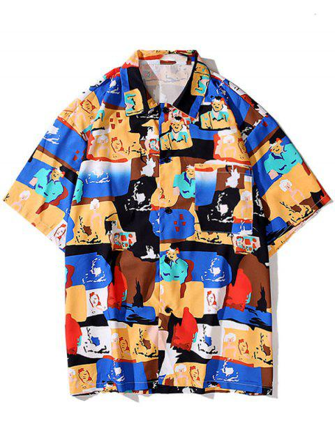 fashion Cartoon Graphic Print Pocket Shirt - BLUEBERRY BLUE XL Mobile