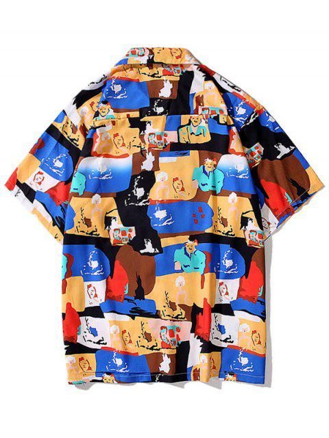 fashion Cartoon Graphic Print Pocket Shirt - BLUEBERRY BLUE XL Mobile
