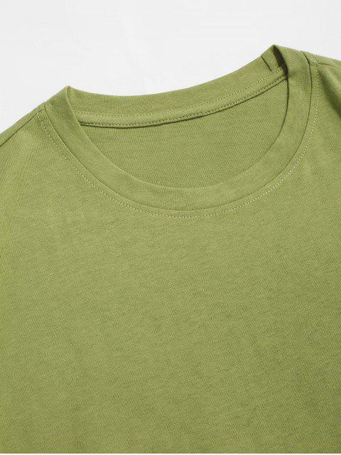 T-Shirt con Maniche Corte e Stampa Crisantemo - Verde Avocado  XL Mobile