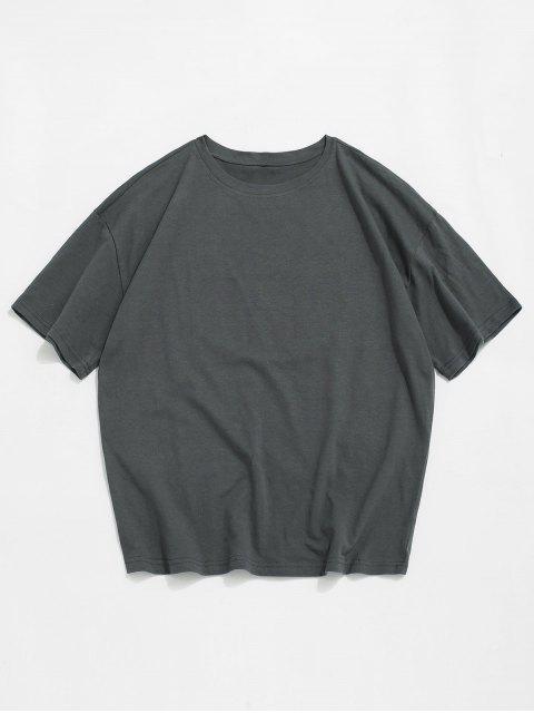 trendy Chrysanthemum Print Short Sleeves T-shirt - DARK GRAY 2XL Mobile