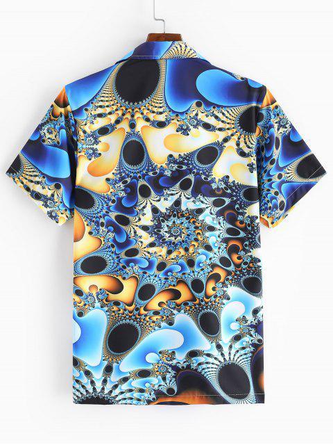 latest Short Sleeve 3D Print Button Vacation Shirt - MULTI-A 2XL Mobile