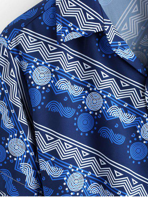 lady Geometric Graphic Print Casual Button Shirt - LAPIS BLUE XL Mobile
